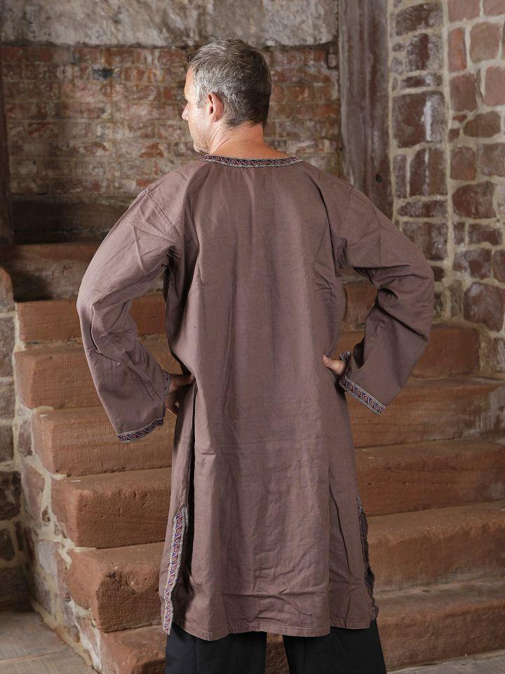 Tunique médiévale à galon en brun, en coton 2