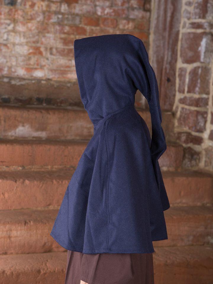 Capuchon en laine feutrée en bleu 2