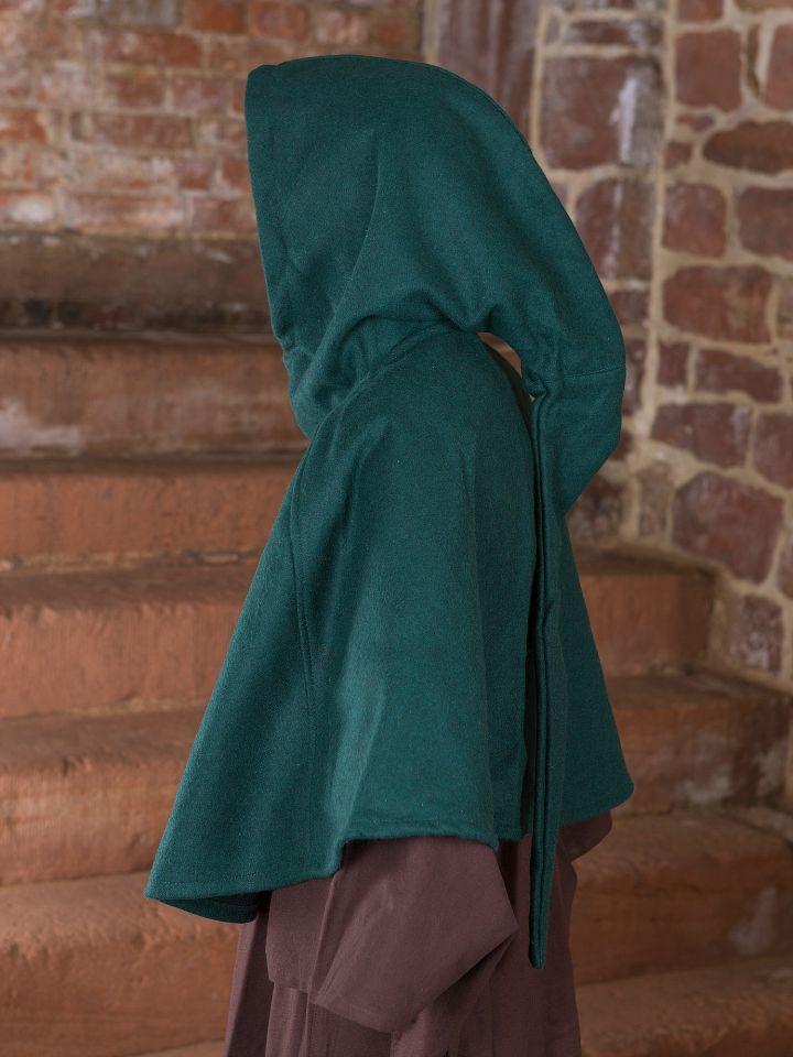 Capuchon en laine feutrée en vert 2