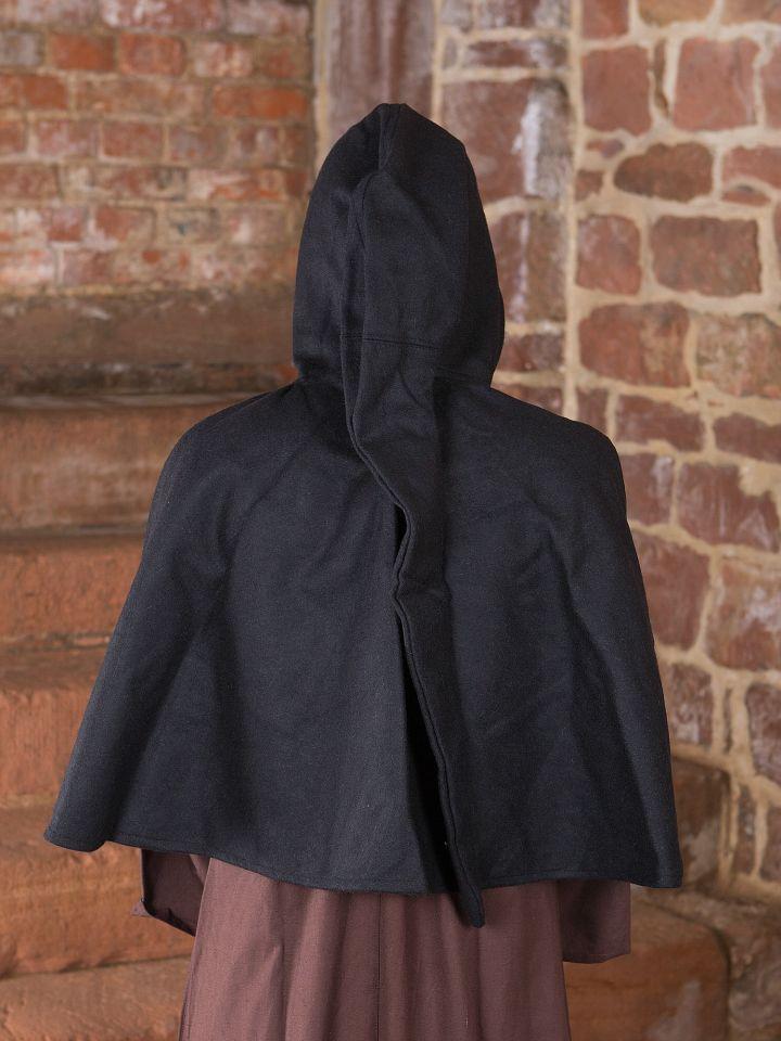 Capuchon en laine feutrée en noir 2