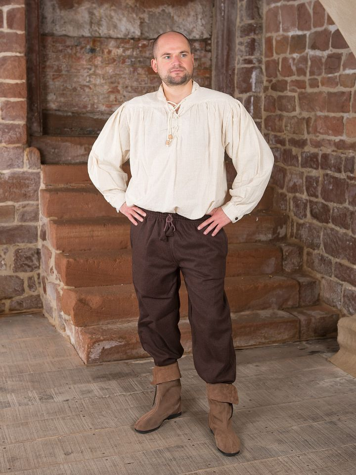 Pantalon médiéval en laine, marron 2