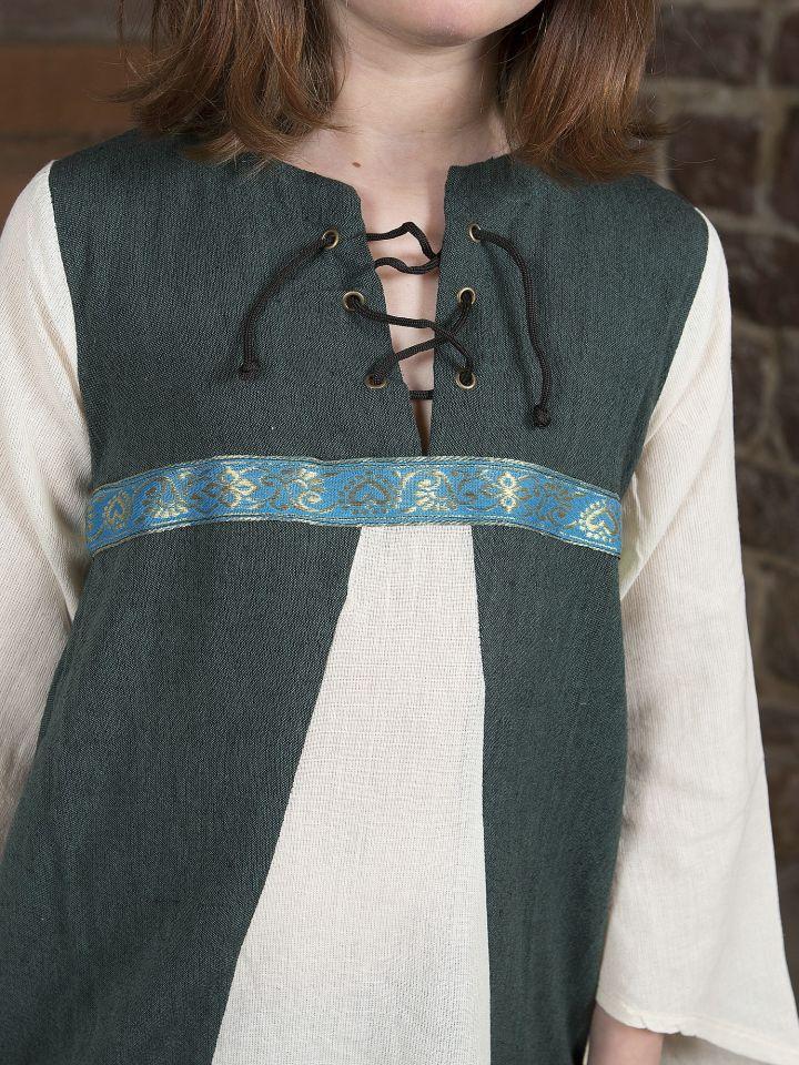 """Robe médiévale """"Piccolina"""" en vert et écru 2"""