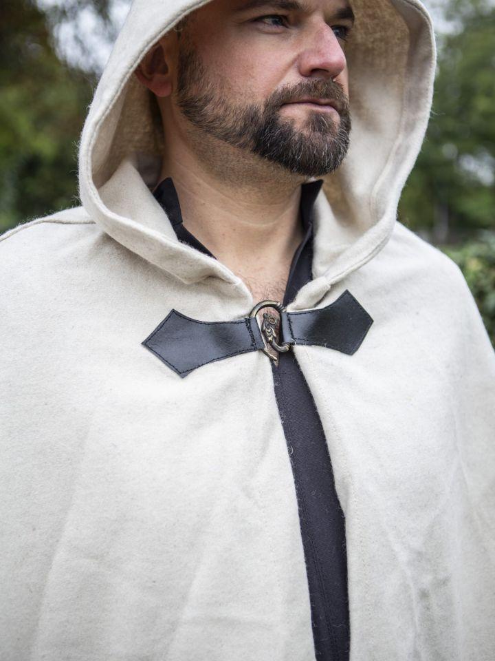 Cape en laine à capuche blanc-écru 2