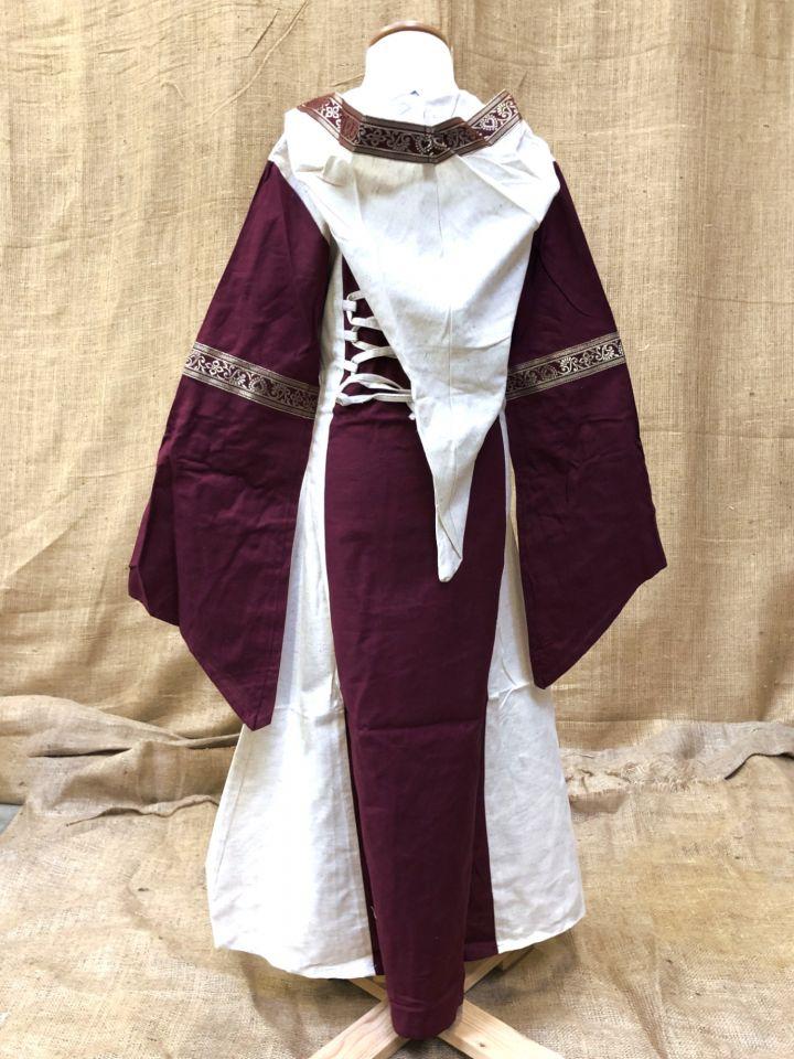 Robe à capuche pour fillette écrue/rouge 2