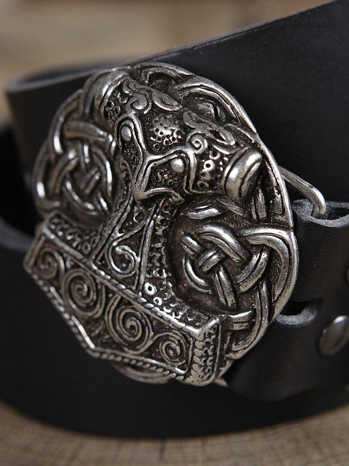 Ceinture en cuir avec boucle Marteau de Thor, en noir 2