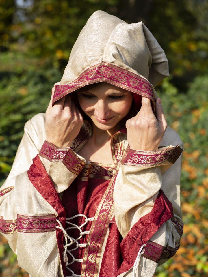 Robe à capuche avec ceinture en bordeaux-nature 2