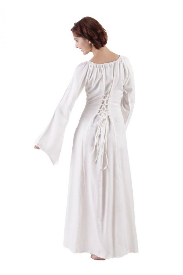 Robe médiévale blanche en viscose 2