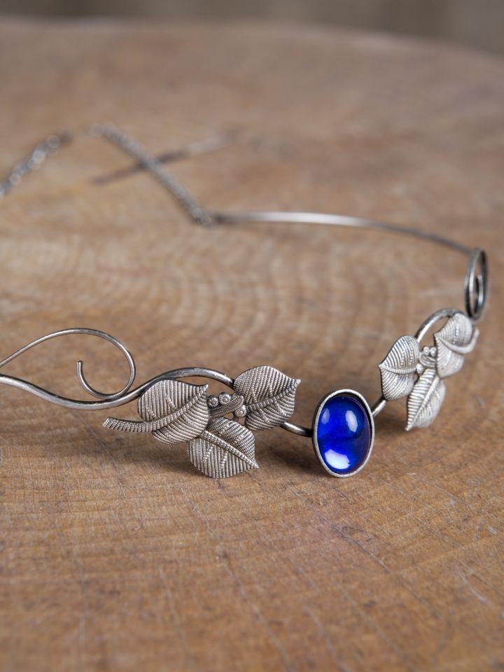 Tiare avec feuilles et pierre bleue 2