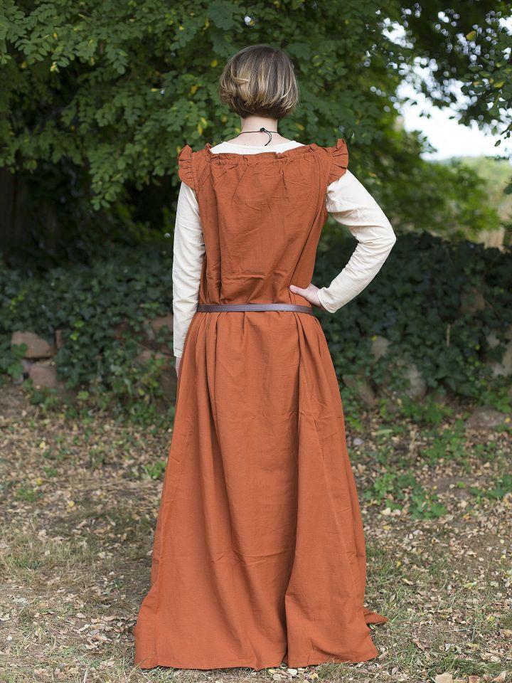 Robe médiévale sans manche à volant en rouille 2