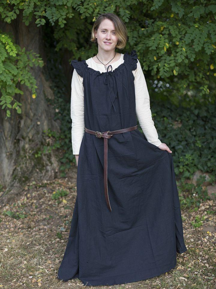 Robe médiévale sans manche à volant en noir 2