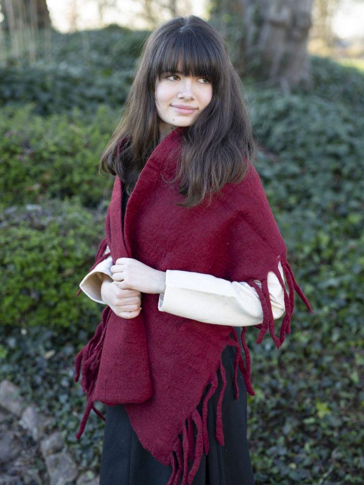 Grande écharpe rouge bordeaux 2