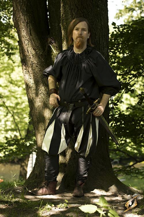 Chemise médiévale froncée au col en noir XL/XXL 2