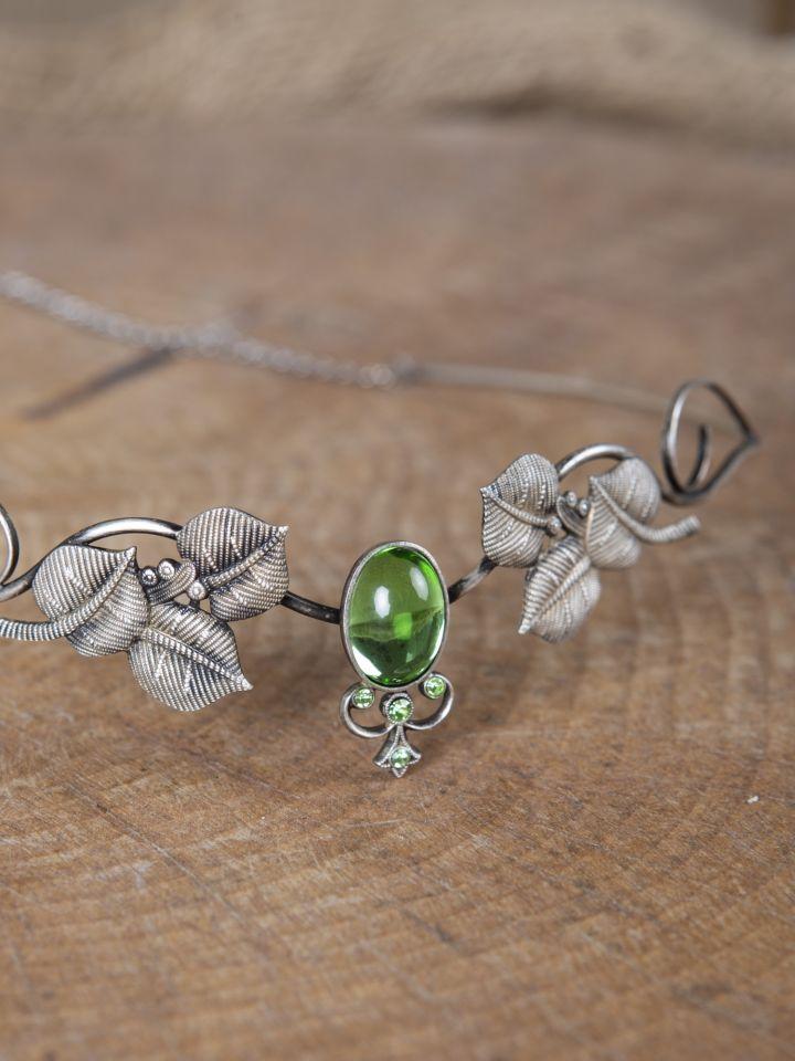 Couronne tiare avec perles vert clair 2
