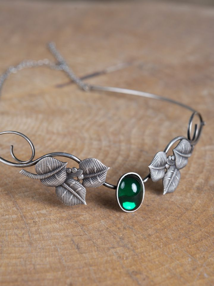 Tiare avec feuilles et pierre verte 2