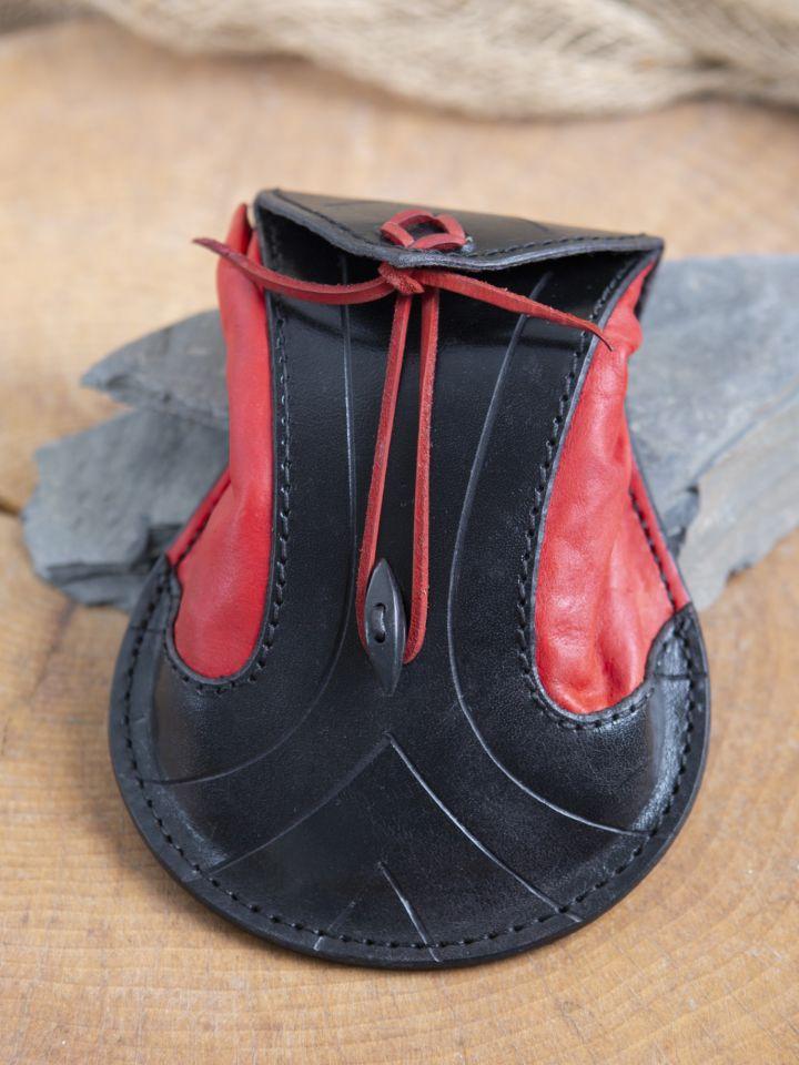 Bourse elfique en cuir épais en rouge et noir 2