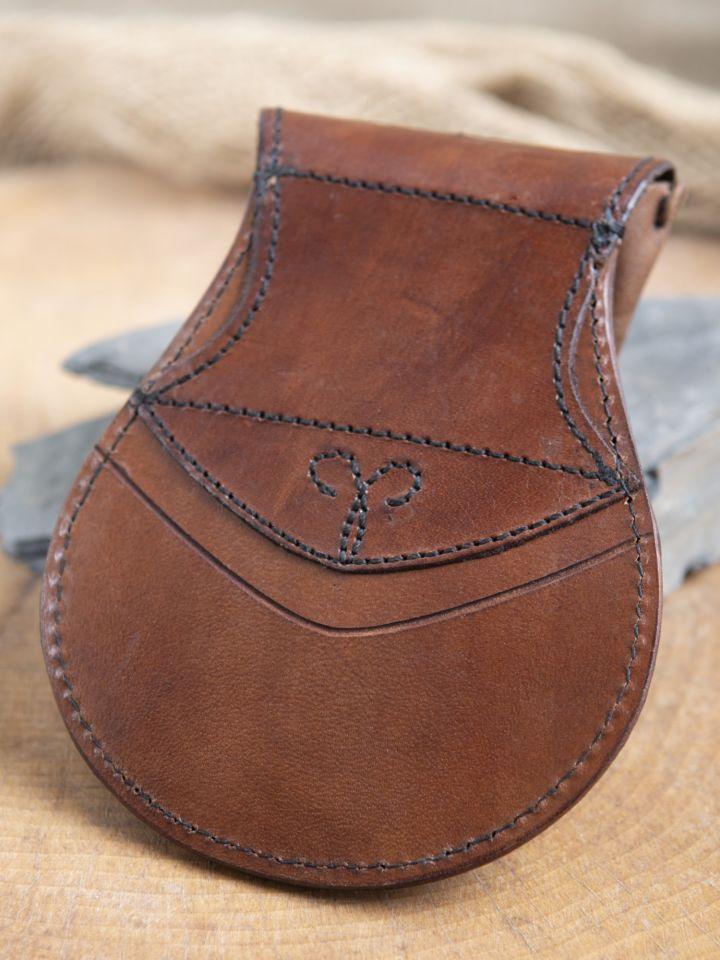 Bourse elfique en cuir épais en marron 2