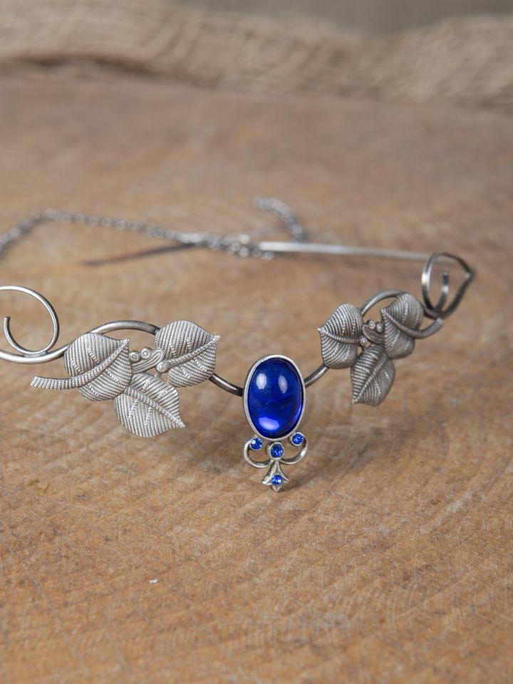 Couronne tiare avec perles bleue 2