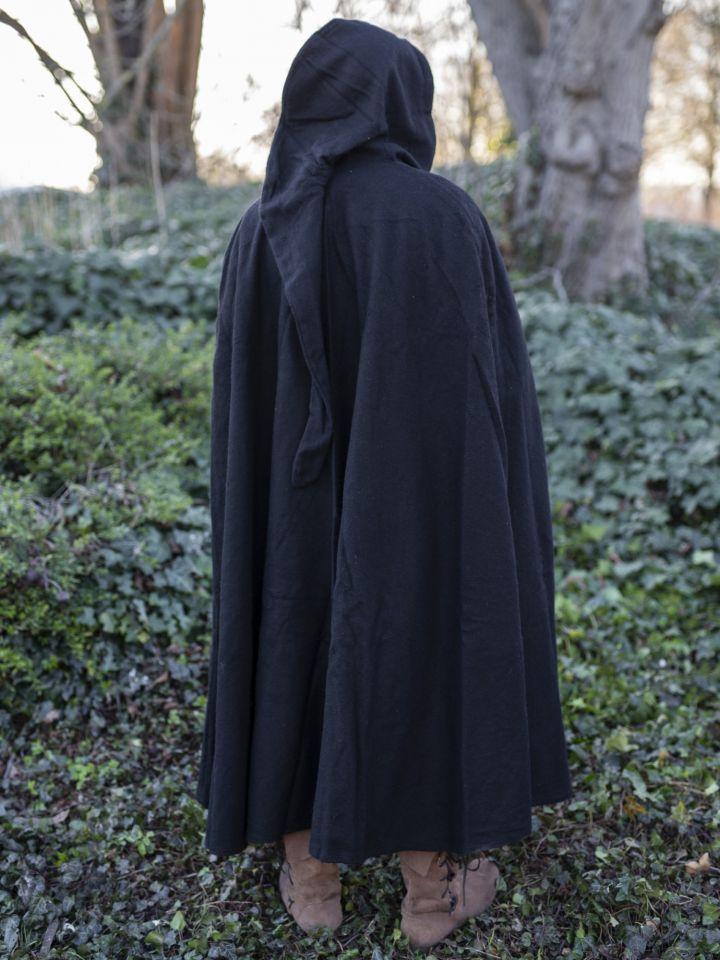 Cape à capuche unisexe en noir 2