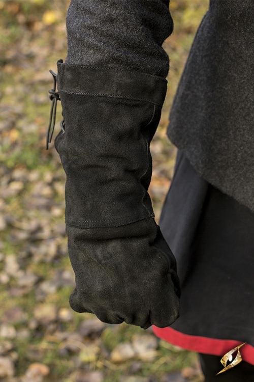 Gants en cuir suédé noir M 2