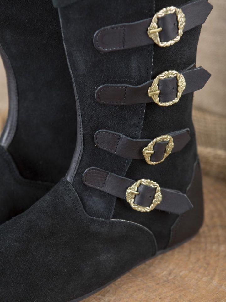 Bottes médiévales à boucles, noires 43 2