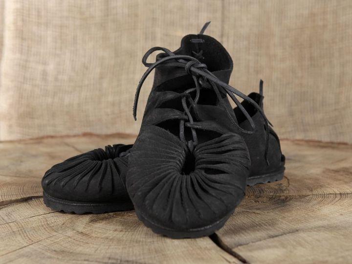 Ballerines médiévales en cuir avec semelle 40   noir 2