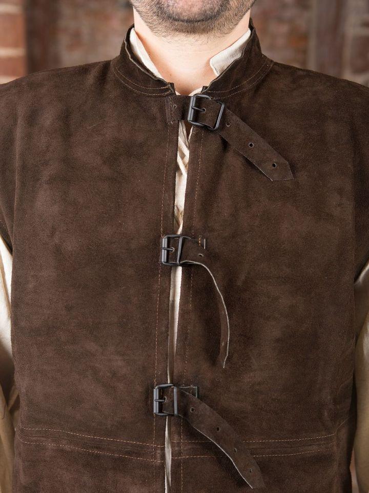 Veste en cuir chamoisé à boucles S 2