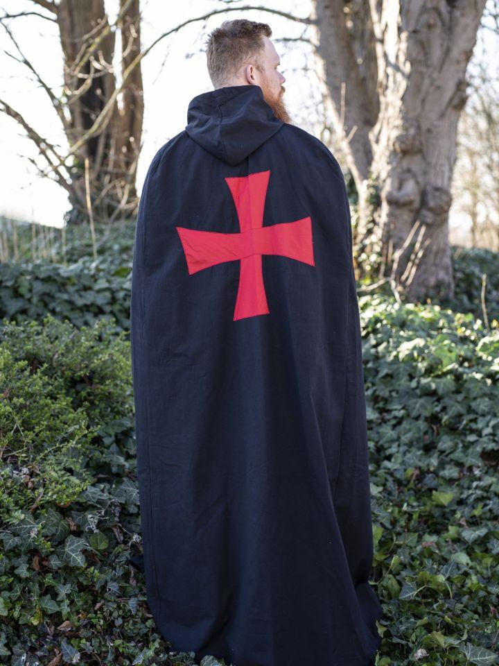 Cape noire avec croix rouge sergent templiers 2