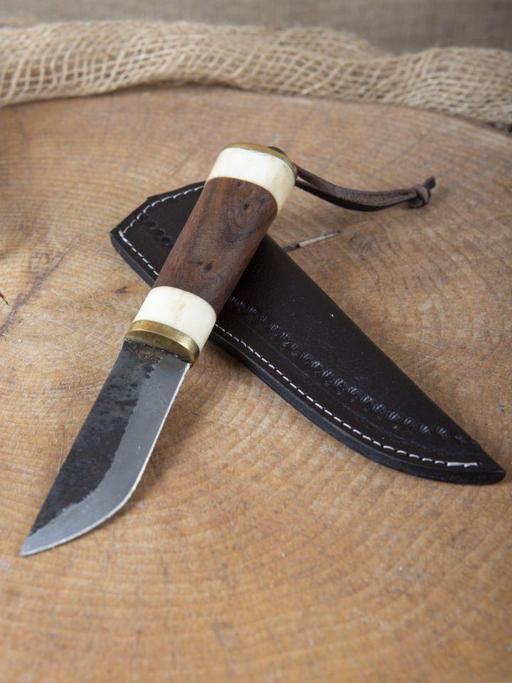 Couteau utilitaire avec os / manche en bois 2