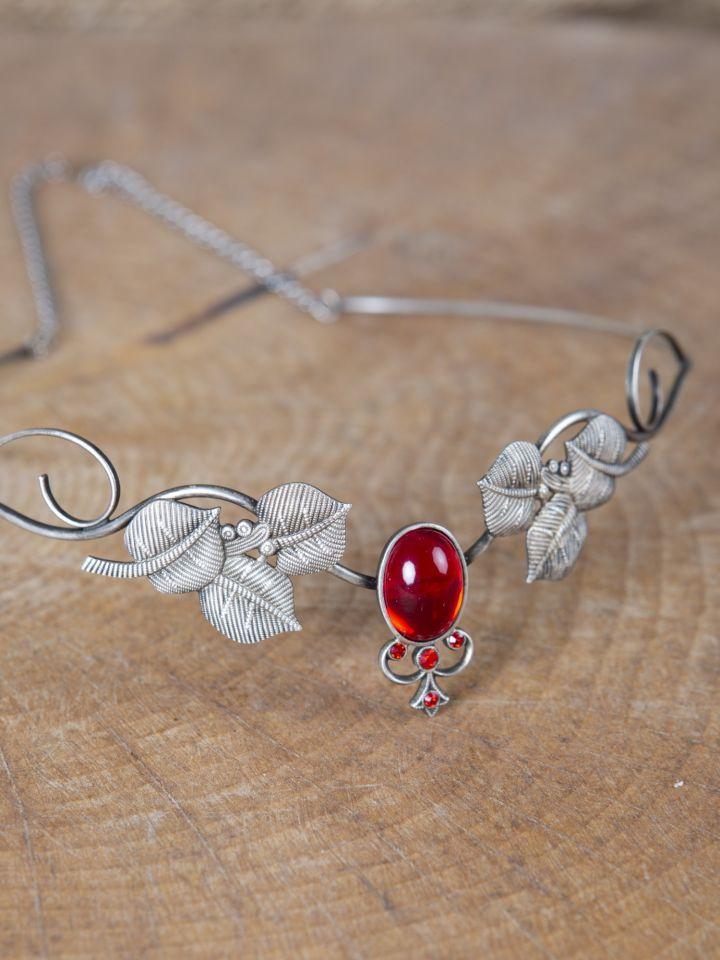 Couronne tiare avec perles rouges 2
