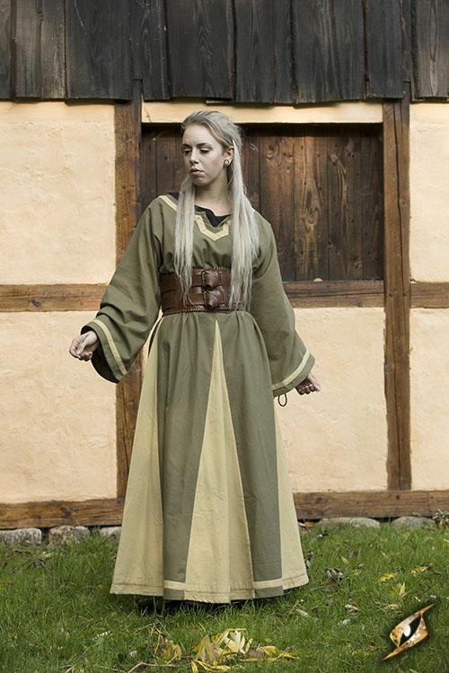 Robe médiévale Astride bicolore en vert olive et sable 2