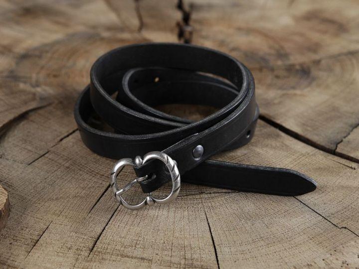 Longue ceinture médiévale en cuir à boucle double marron 2