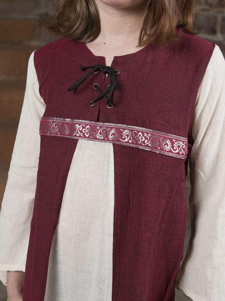 """Robe médiévale """"Piccolina"""" en rouge et écru 128/134 2"""