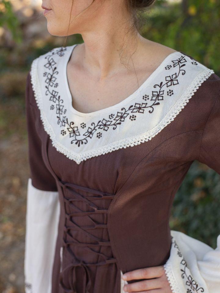 Robe médiévale  bicolore avec petite broderie en marron et blanc 2