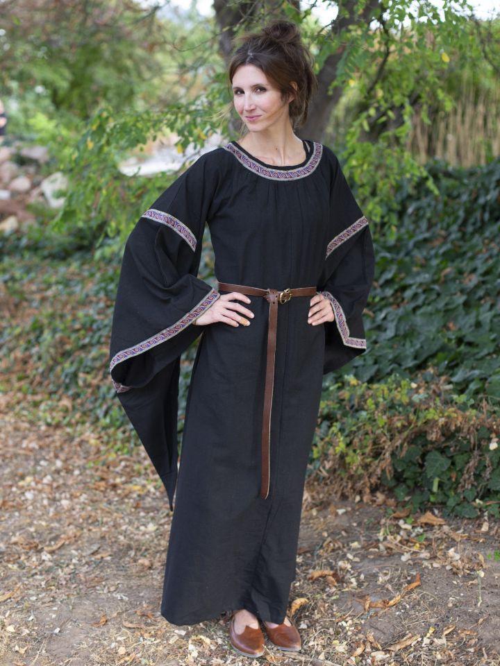 Robe Médiévale à galons, en noir 2
