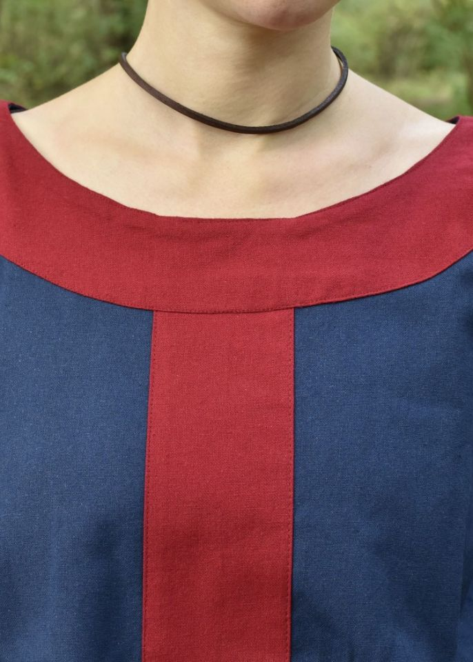 Robe médiévale Radegonde bleue-rouge 2