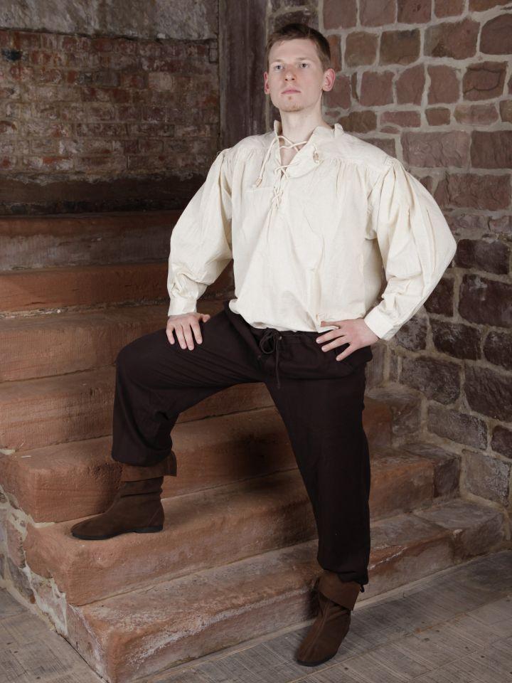 Pantalon à laçage en coton, marron foncé L 2