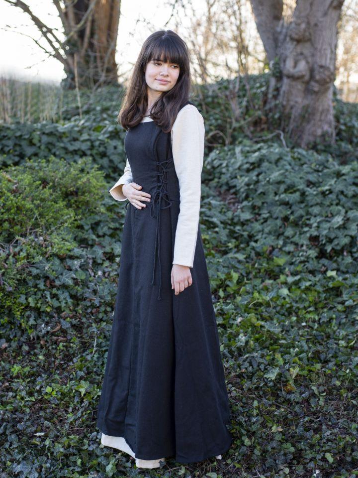 Robe médiévale sans manche en noir 2