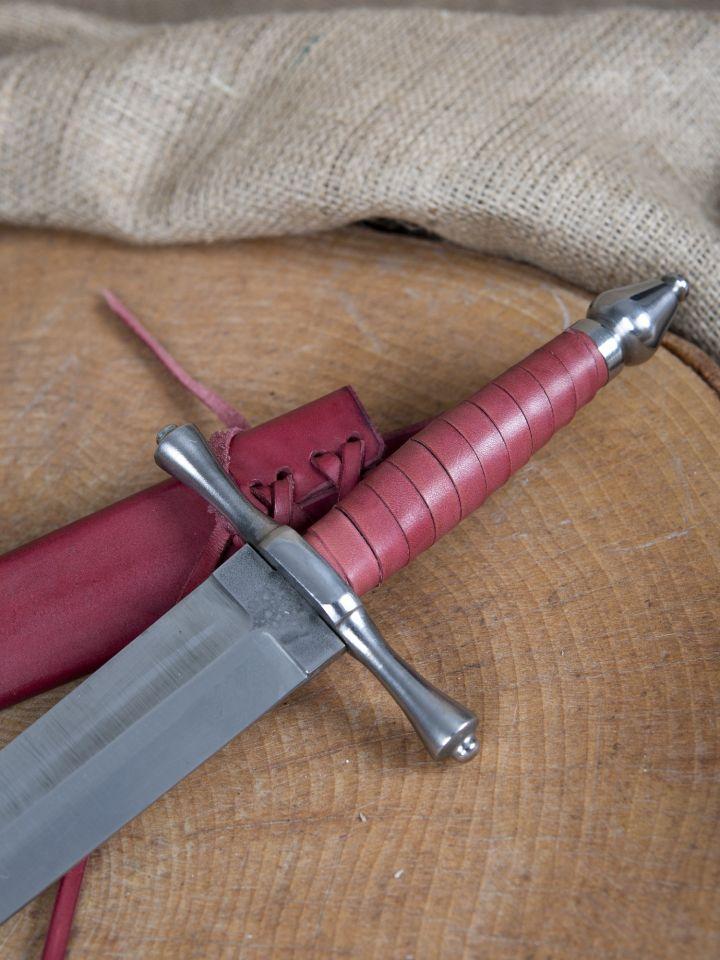 Dague forgée avec fourreau en cuir 2