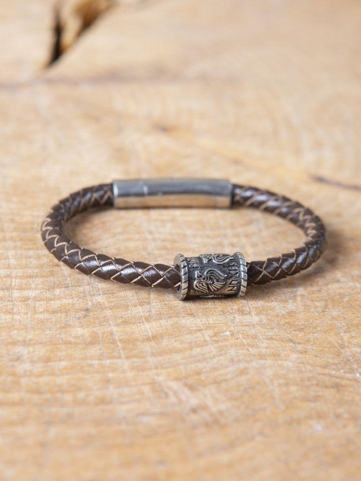 "Bracelet en cuir tressé avec perle viking ""Corbeaux d'Odin"" 2"