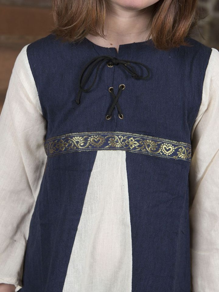 """Robe médiévale """"Piccolina"""" en bleu et écru 164/172 2"""