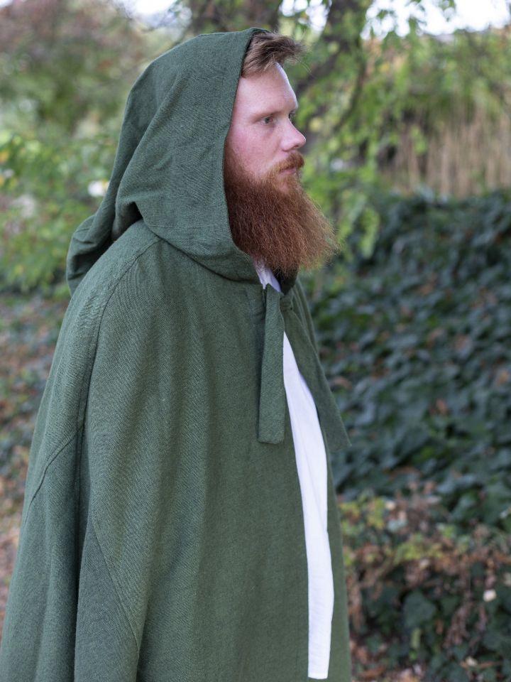 Cape en coton rustique en vert à longue capuche 2