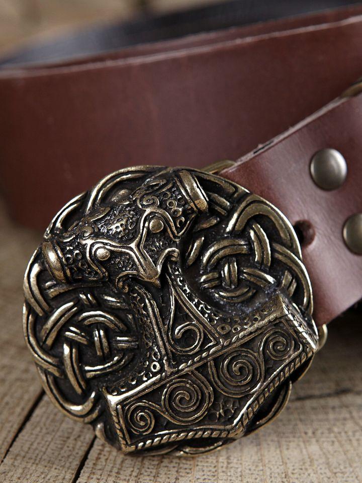 Ceinture en cuir avec boucle Marteau de Thor, en marron 2