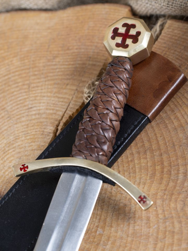 Dague des Templiers avec étui en cuir 2