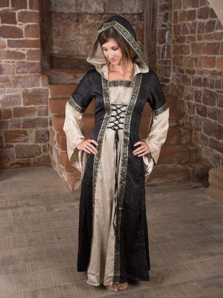 Robe médiévale avec capuche en noir et écru 2