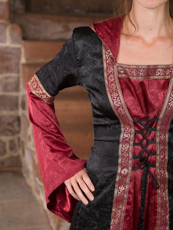 Robe médiévale avec capuche en rouge et noir S/M 2