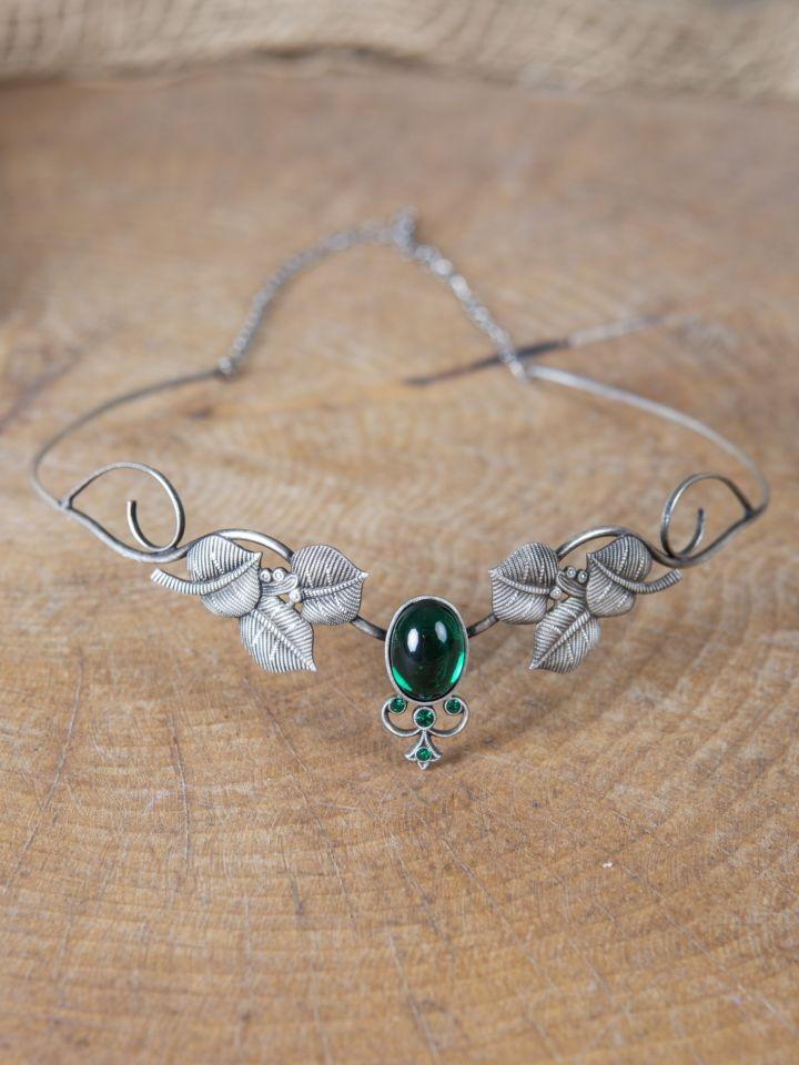 Couronne tiare avec perles vert foncé 2