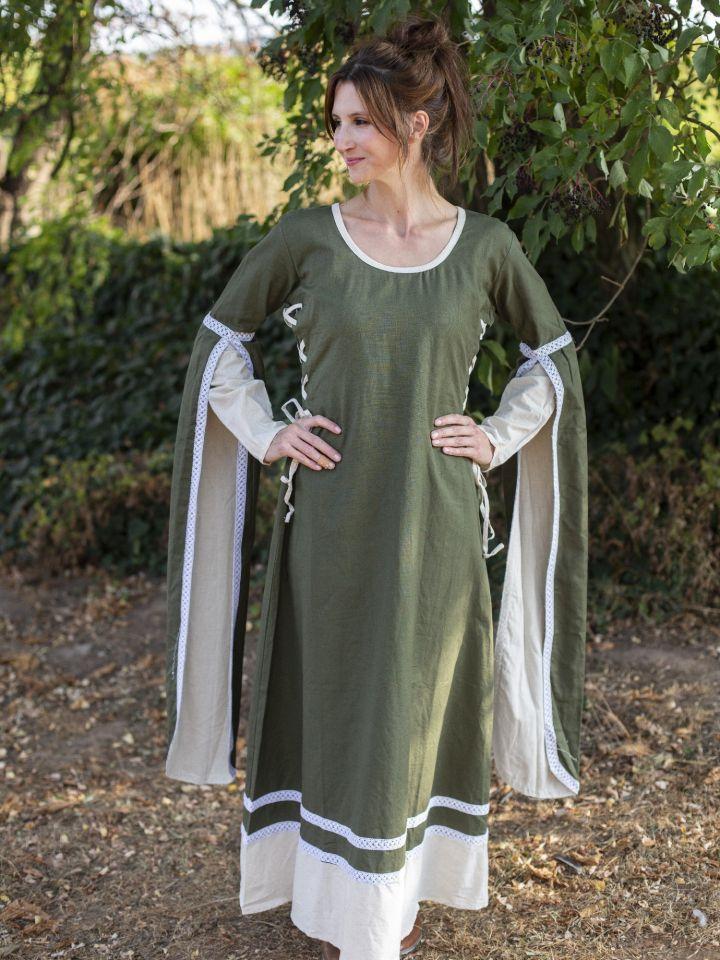 Robe médiévale manches flottantes, vert/écru 2