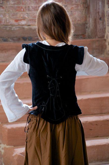 Corsage médiévale en velours noir S 2