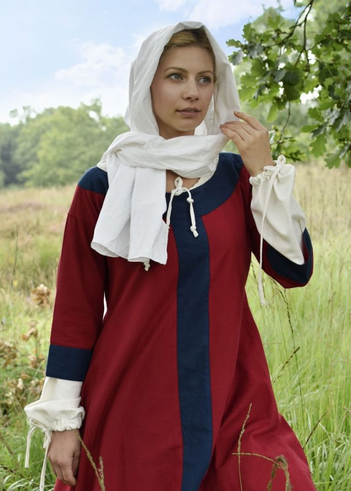 Robe médiévale Radegonde rouge-bleue 2