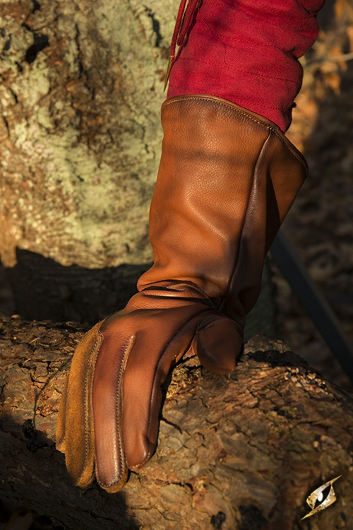 Gant de fauconnier en cuir marron- imitation M 2